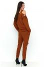 Kamelowy Dwuczęściowy Komplet Spodnie i Bluzka z Rockowym Akcentem