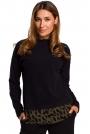 Czarny Uroczy sweter z Ozdobnymi Guzikami