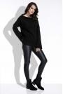 Czarny Sweter w Prążek z Szerokimi Rękawami