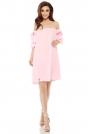 Różowa Letnia Sukienka Trapezowa z Dekoltem Carmen