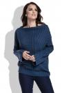 Granatowy Sweter w Prążek z Szerokimi Rękawami