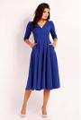 Kobaltowa Elegancka Rozkloszowana Sukienka z Wykładanym Kołnierzem