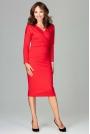 Czerwona Stylowa Sukienka z Kopertowym Dekoltem