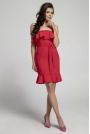 Czerwona Koktajlowa Sukienka Typu Hiszpanka z Paskiem