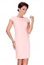 Brzoskwiniowa Sukienka Elegancka Ołówkowa z Półrękawkiem