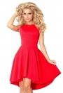 Czerwona Sukienka bez Rękawów z Rozkloszowanym Asymetrycznym Dołem