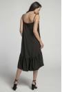 Czarna Zwiewna Sukienka z Asymetryczną Falbanką na Cienkich Ramiączkach