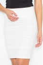 Biała Prosta Krótka Spódnica z Zaszewkami