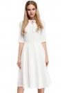 Ecru Sukienka Elegancka Rozkloszowana z Wiązaniem przy Dekolcie