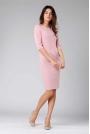 Jasnoróżowa Klasyczna Ołówkowa Sukienka z Rękawem za Łokcie
