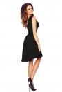 Czarna Zmysłowa Sukienka z Kopertowym Dekoltem na Szerokich Ramiączkach