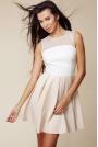 Dwubarwna Rozkloszowana Sukienka z Prześwitującym Karczkiem - Kremowy&beżowy