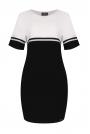 Czarny-ecru Dzianinowa Dwubarwna Sukienka z Kontrastowymi Paskami