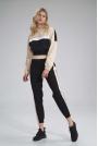 Sportowe Spodnie z Kolorowym Lampasem - Czarno-Beżowe