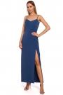 Niebieska Maxi Sukienka na Ramiączkach z Połyskiem