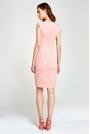 Różowa Sukienka Ołówkowa bez Rękawów z Dekoltem V