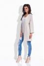 Beżowy Sweter Długi Elegancki bez Zapięcia