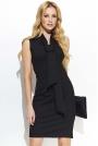 Czarna Elegancka Ołówkowa Sukienka z Krawatką