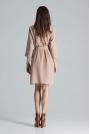 Beżowa Kopertowa Sukienka bez Zapięcia z Wiązanym Paskiem