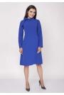 Niebieska Wizytowa Sukienka Midi ze Stójką i Kokardką