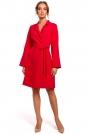 Czerwona Sukienka Żakietowa z Rozszerzanymi Rękawami