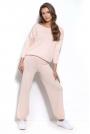 Dzianinowy Pudrowy Komplet Oversizowa Bluza + Spodnie