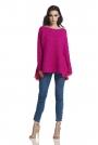 Fuksja Asymetryczny Oversizowy Sweter z Szyfonową Falbanką