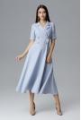 Błękitna Rozkloszowana Wizytowa Sukienka Żakietowa