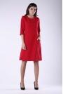 Czerwona Luźna Sukienka przed Kolano z Kieszeniami
