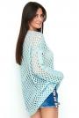 Błękitny Ażurowy Sweter Oversize