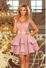 Różowa Rozkloszowana Imprezowa Sukienka z Koronką