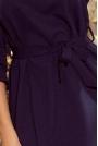 Granatowa Sukienka z Falbankami Przewiązana Paskiem
