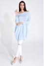 Błękitny Sweter Luźny z Kieszeniami