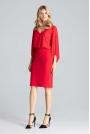 Czerwone Eleganckie Body w Serek z Brokatowym Połyskiem