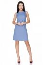 Niebieska Sukienka Klasyczna bez Rękawów
