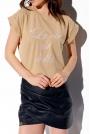 Beżowy T-shirt z Haftem La Vie Est Belle