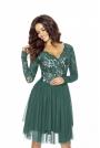 Zielona Sukienka Koronkowa z TiulowąSpódnicą