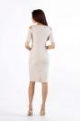 Beżowa Klasyczna Ołówkowa Sukienka Open Shoulder