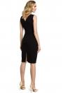 Czarna Wieczorowa Ołówkowa Sukienka z Ciekawym Dekoltem