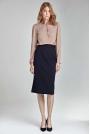 Granatowa Ołówkowa Elegancka Spódnica