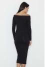 Czarna Ołówkowa Sukienka za Kolano z Szerokim Dekoltem