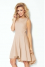 Beżowa Sukienka bez Rękawów z Rozkloszowanym Asymetrycznym Dołem