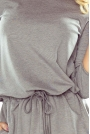 Szara Sukienka z Wiązaniem w Tali i na Rękawach