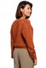 Pomarańczowy Luźny Sweter w Serek z Dużymi Oczkami