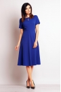 Niebieska Wizytowa Sukienka Midi z Krótkim Rękawem