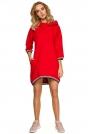 Czerwona Dzianinowa Asymetryczna Sukienko-Bluza z Kapturem