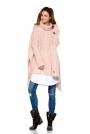 Różowy Asymetryczny Swobodny Sweter w Warkocze z Golfem