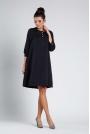 Czarna Luźna Wizytowa Sukienka na Guziki z Lamówkami