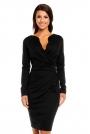 Czarna Elegancka Dzianinowa Sukienka z Kopertową Górą z Długim Rękawem