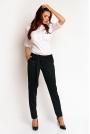 Czarne Eleganckie Klasyczne Spodnie z Wiązanym Paskiem